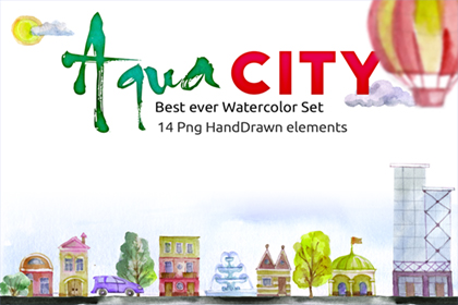 Free Watercolor - Aqua City Set