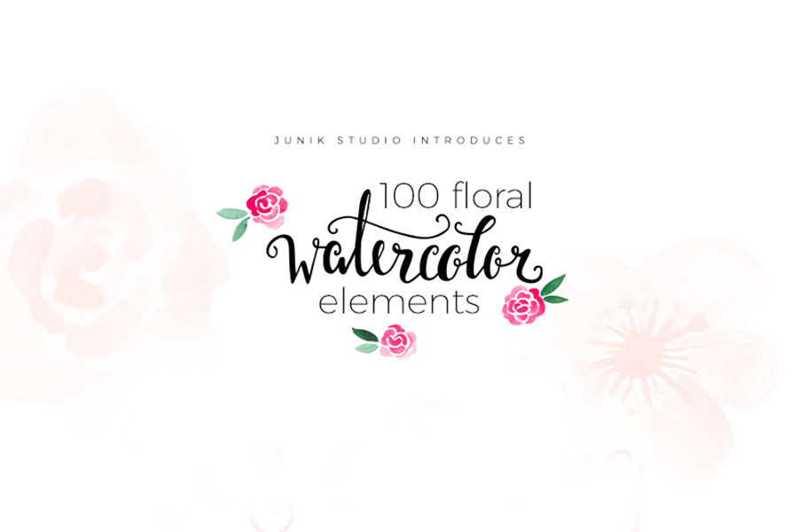 100 Free Watercolor Floral Elements Free Design Resources
