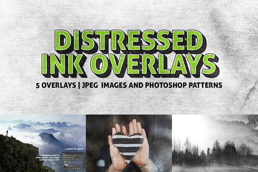 5 Distressed Ink Overlay Textures