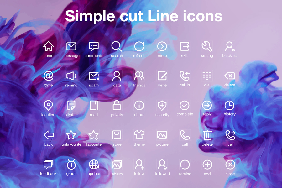 Simple Cut Line Icons