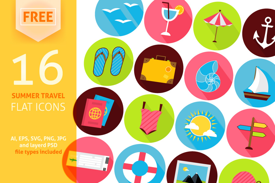 Summer Travel Free Flat Icons