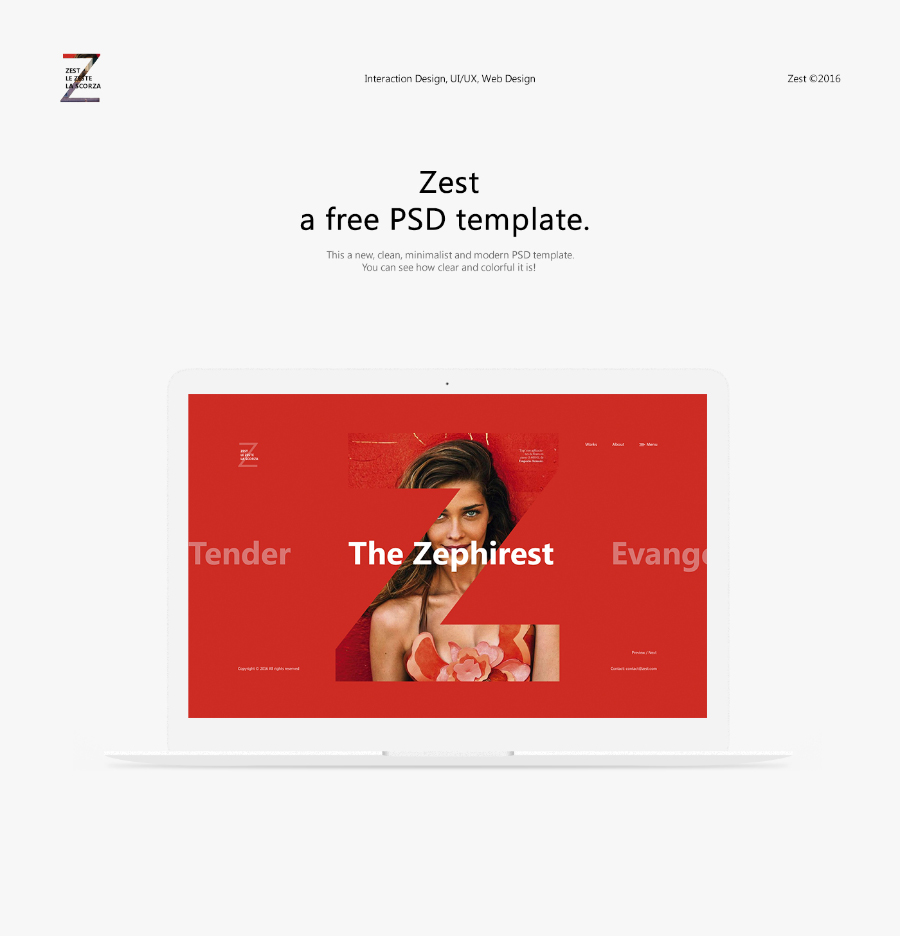 Zest Free PSD Template for Photography