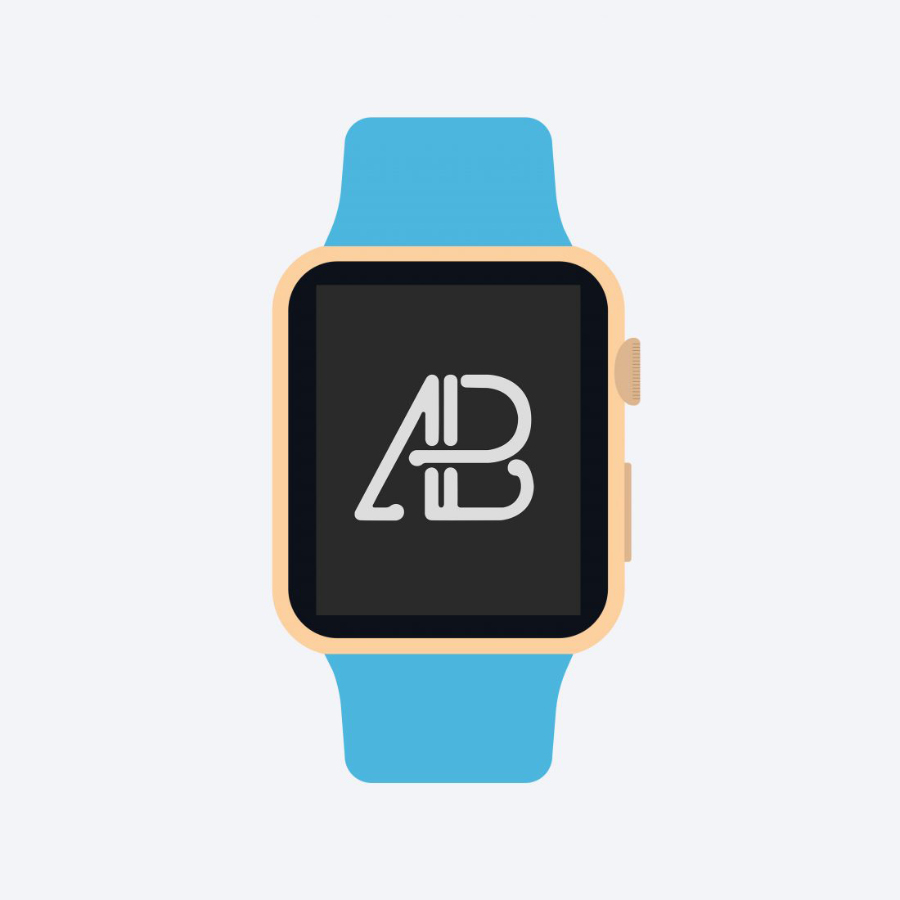 Free Flat 2D Apple Watch Mockup prev02