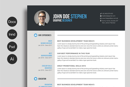 Free Ms.Word Resume and CV Template