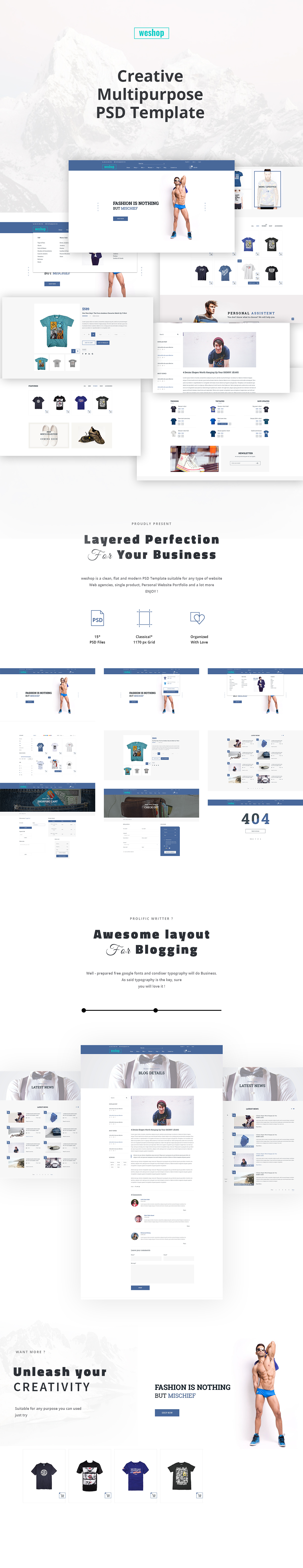 Free Multipurpose e-Commerce PSD Template