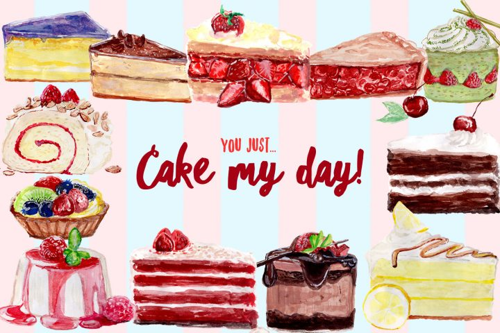 Cake My Day Free Watercolor Clipart