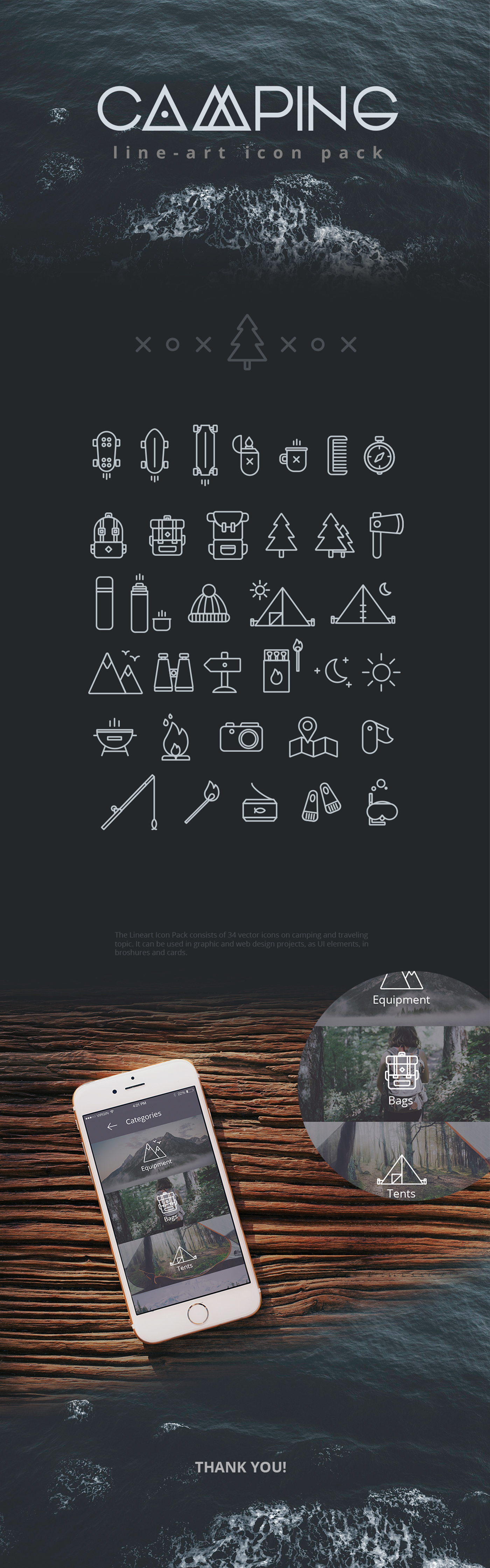 Camping Free Line Icon Set