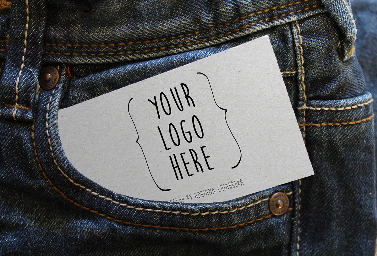 Card on Jeans Free Mockup