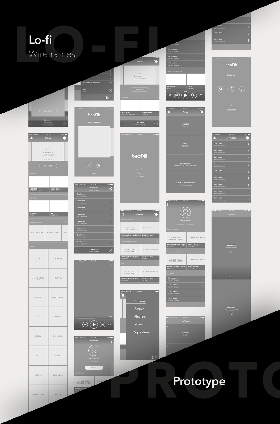 BeatO UI Kit Free Sketch Template