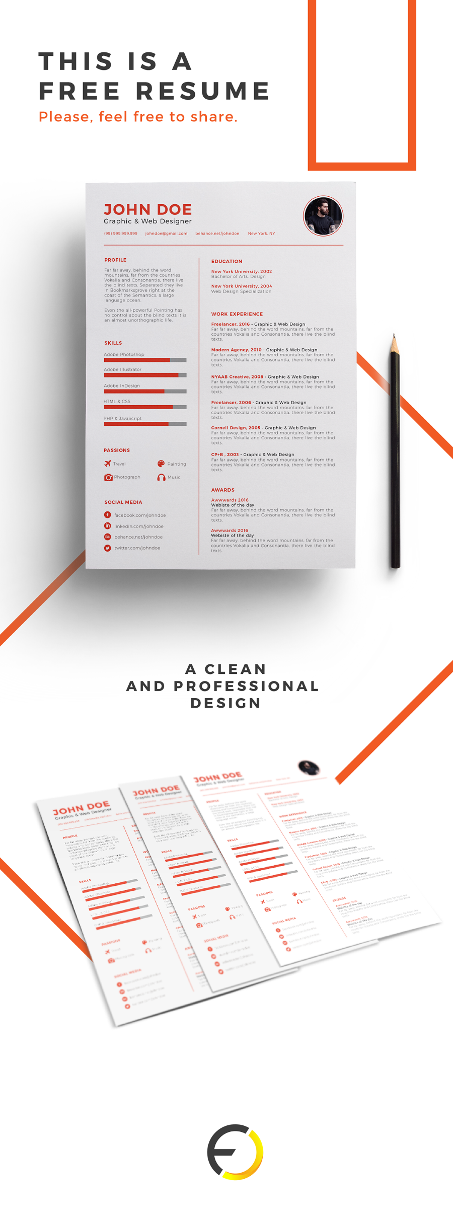 Clean Design Free Resume Template