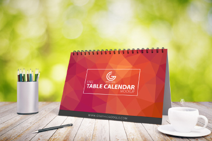 Free Table Calendar PSD Mockup