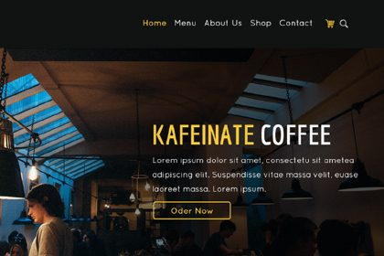 Kafeinate One Page Coffee Shop UI Design