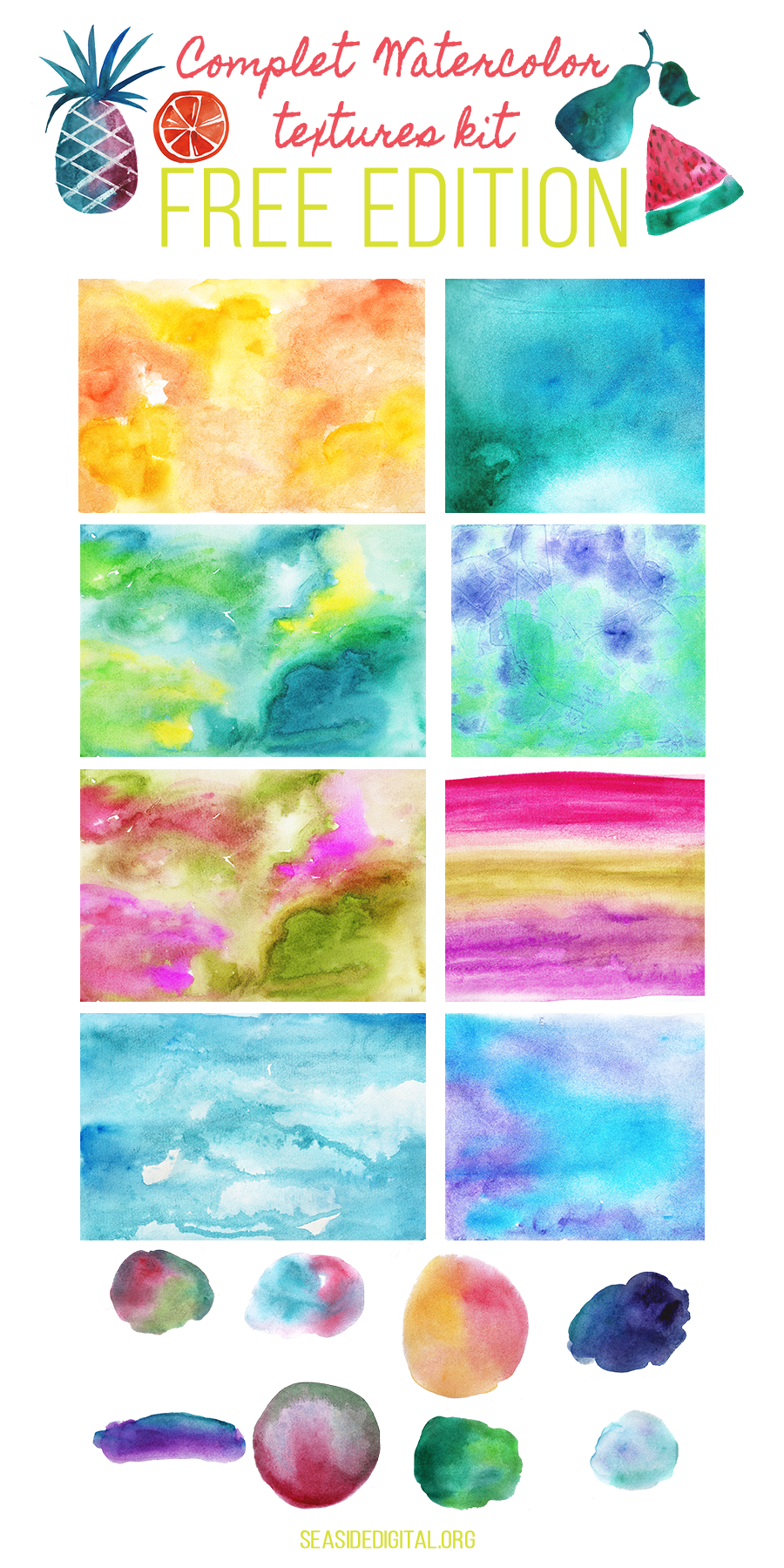 Free Watercolor Textures Kit