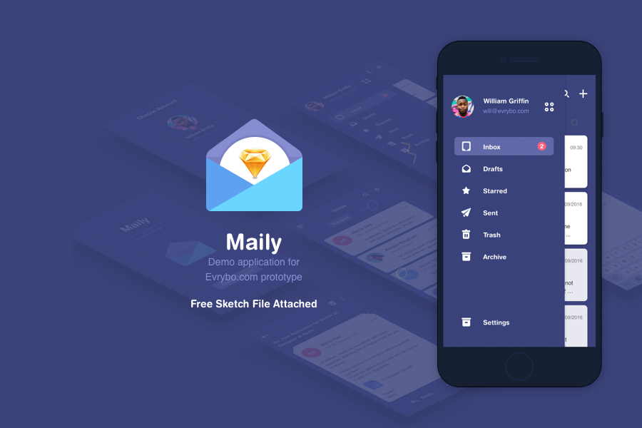 Maily Sketch UI Kit Free Demo