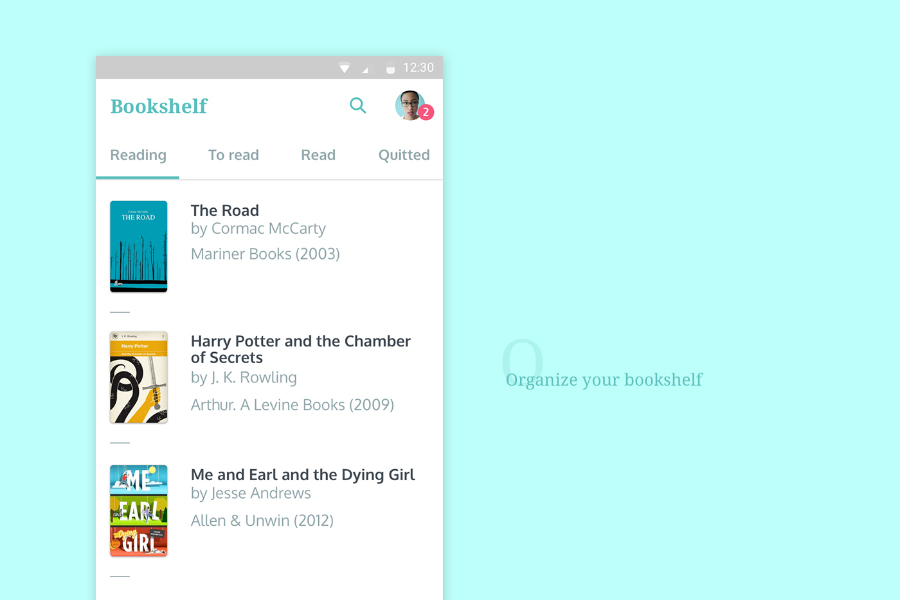 Bookshelf Free Sketch UI Kit