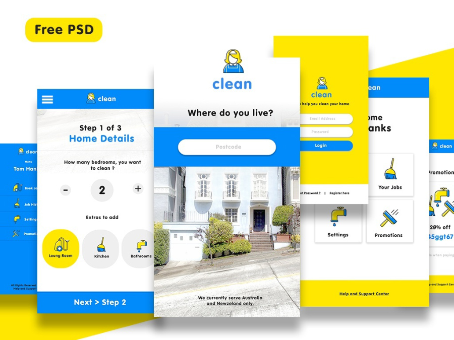 Free Cleaning Service App UI Kit