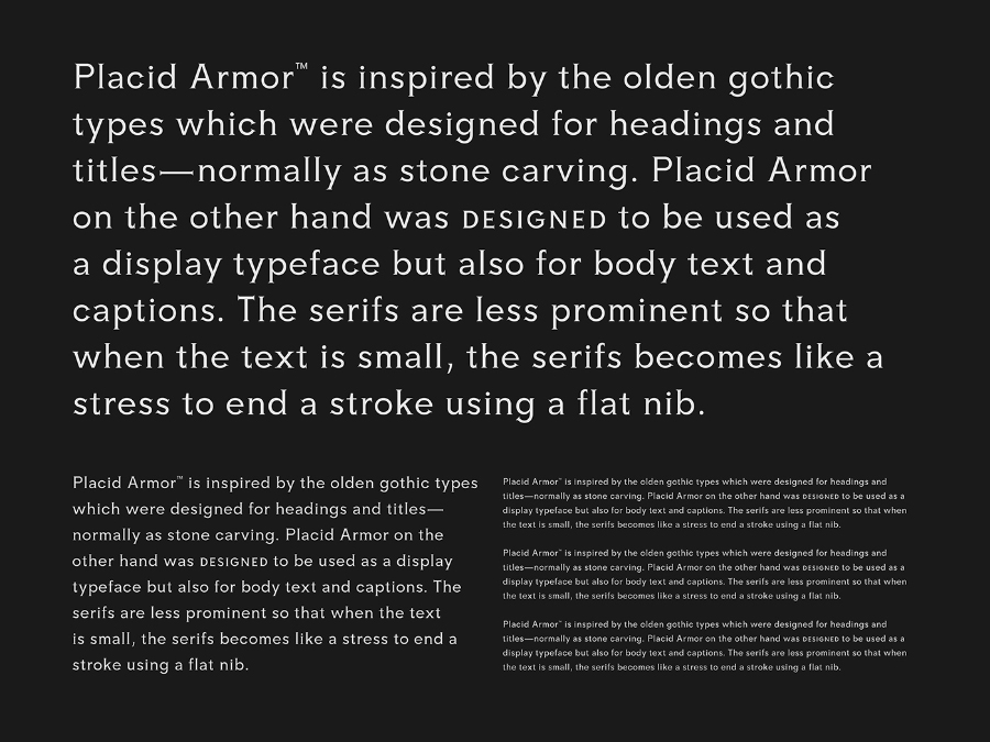 Placid Armor Typeface Free Demo