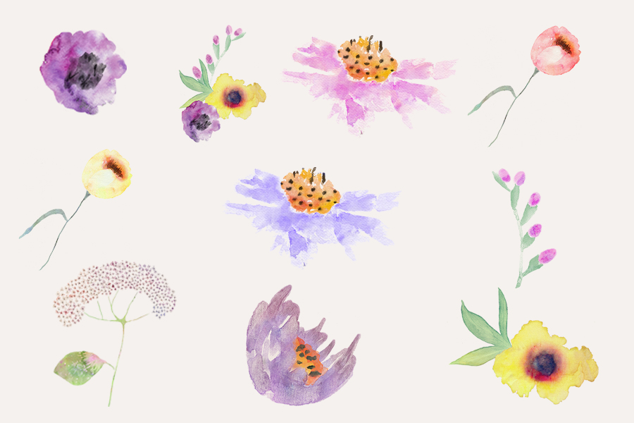 11 Free Watercolor Flower Elements