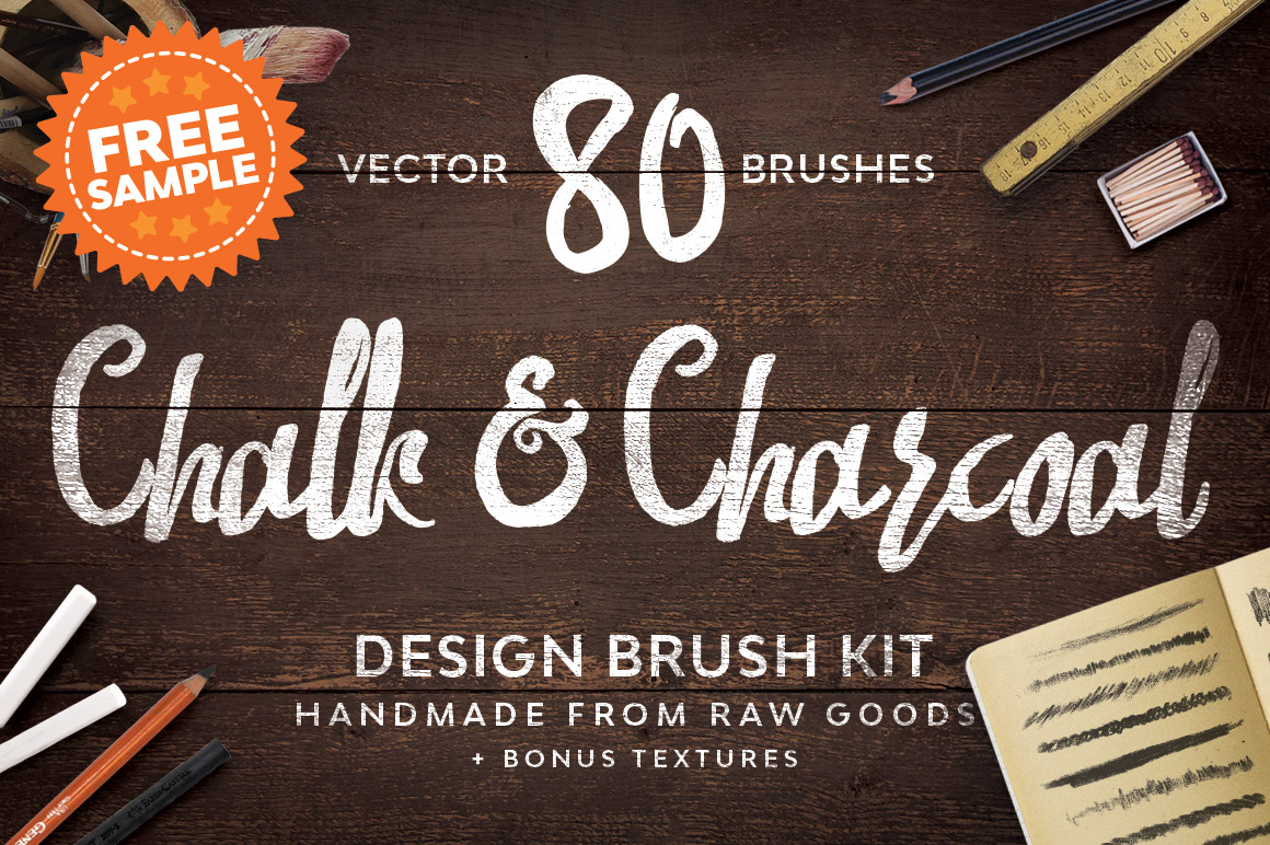 Chalk and Charcoal Vector Brushes Sample