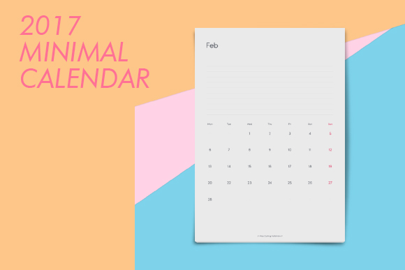 2017 Calendar Minimalist : Free minimal calendar template design resources