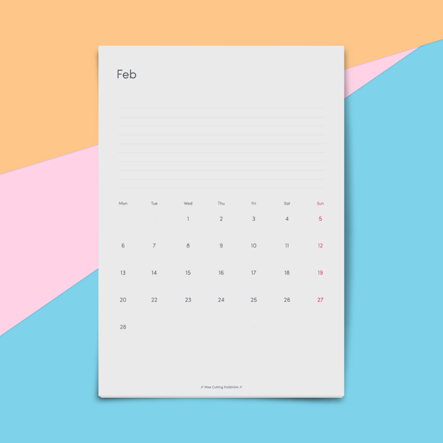 Minimalist Calendar Printable : Free minimal calendar template — design resources