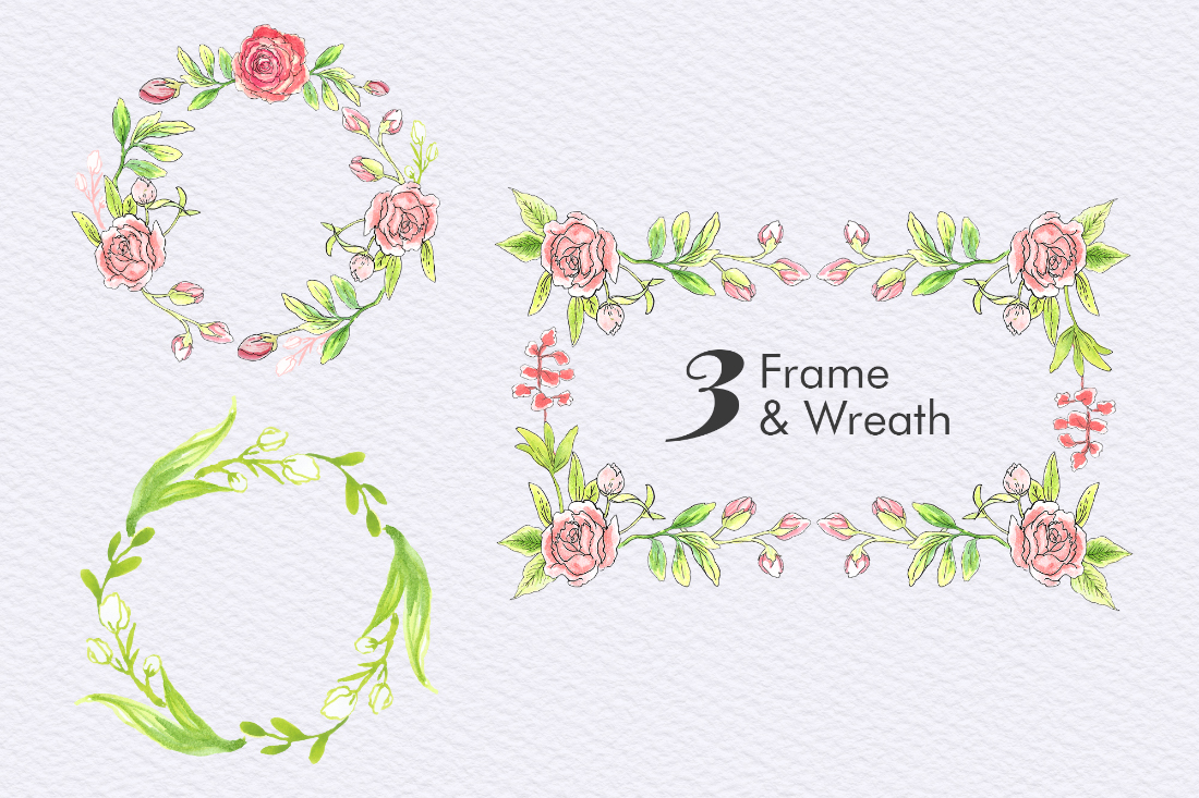 Pink Roses Floral Elements Free Sample