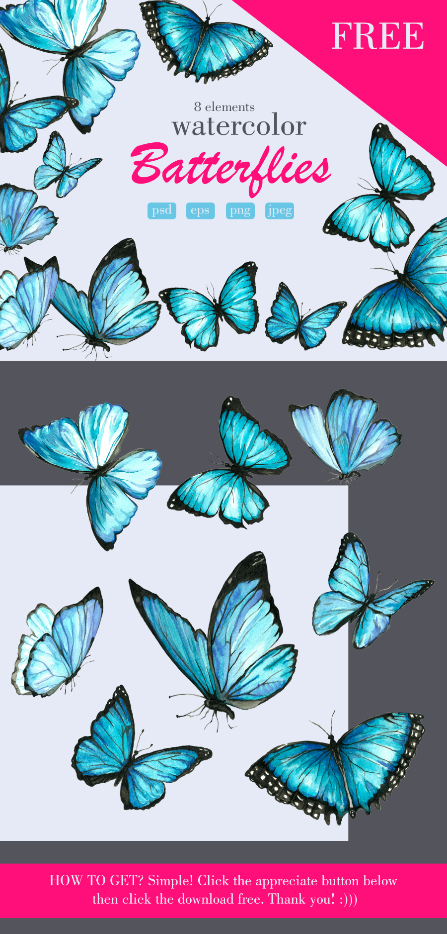 Free Watercolor Butterfly Collection