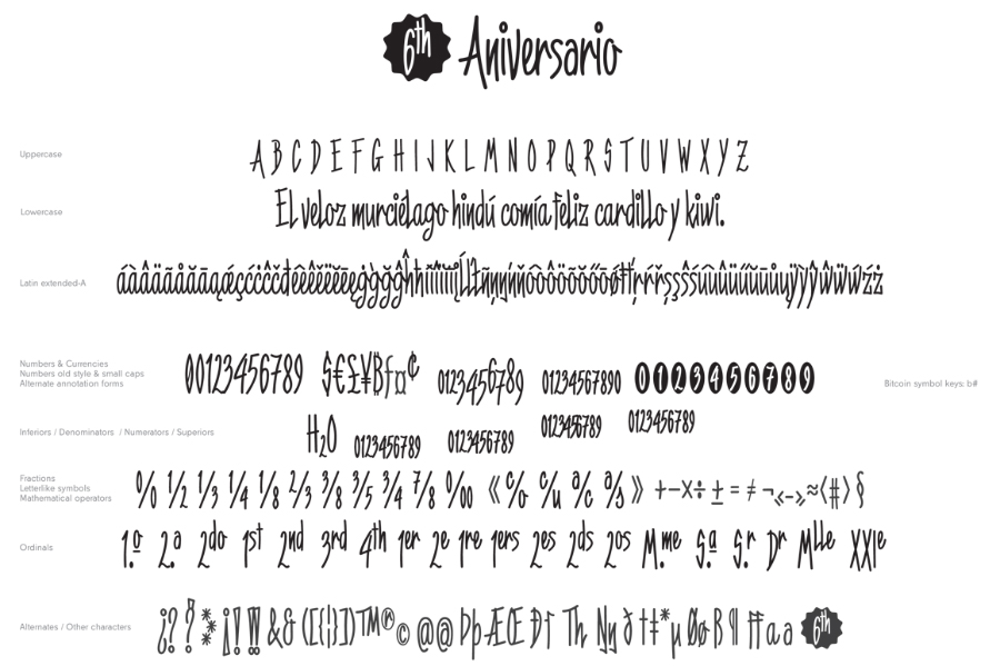 6th Anniversary Narrow Script