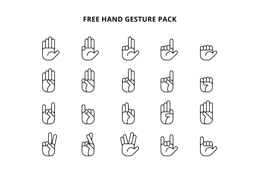 Free Hand Gesture Icon Pack