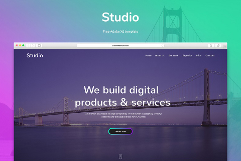 Studio Free Adobe Xd Template