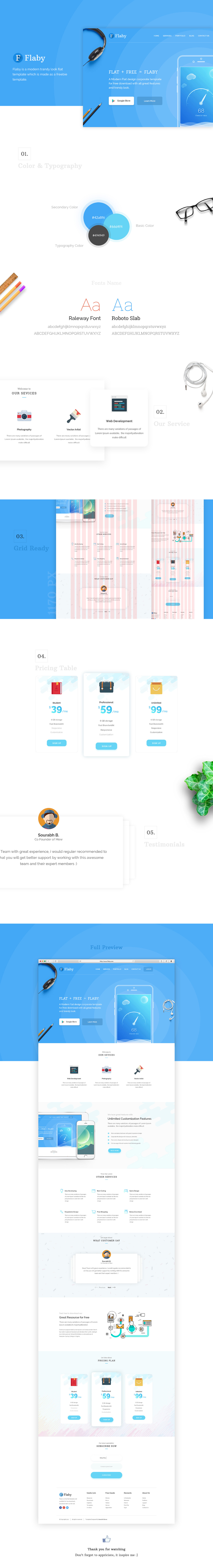 Flaby Free PSD Landing Page