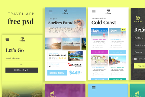 Free PSD Travel App UI Kit