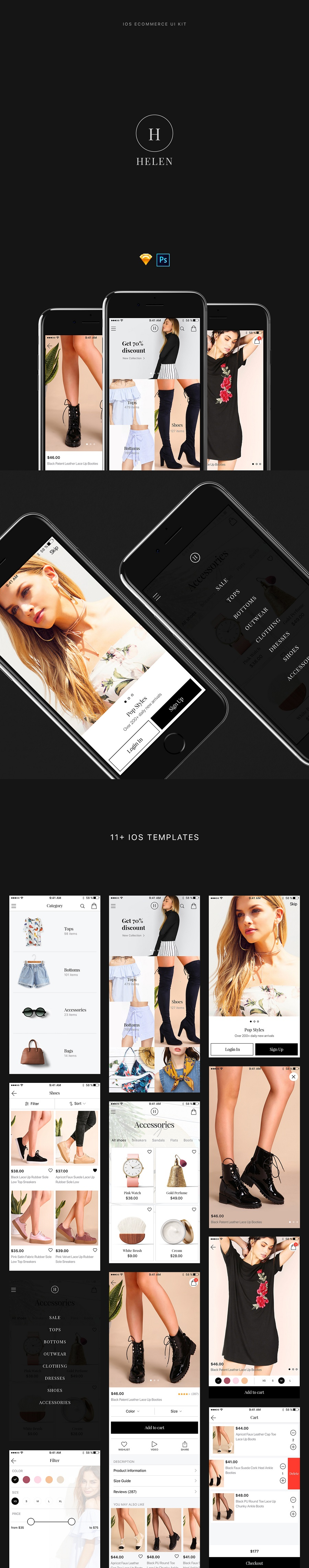 Helen Free iOS Ecommerce UI Kit