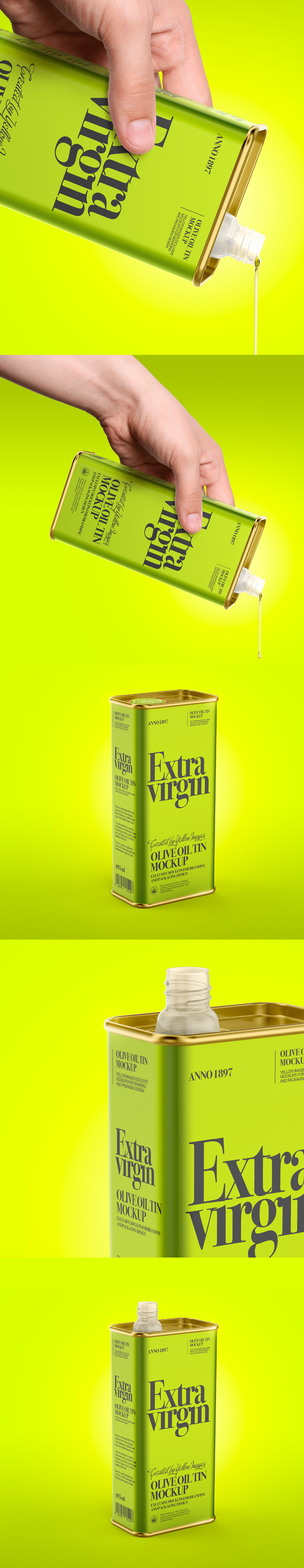 Free Olive Oil Tin Can Mockup