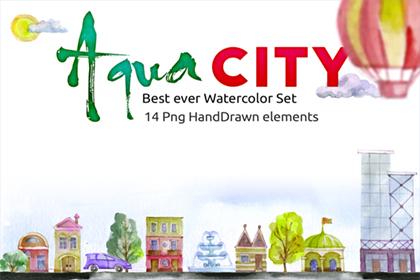 Free Watercolor - Aqua City Set