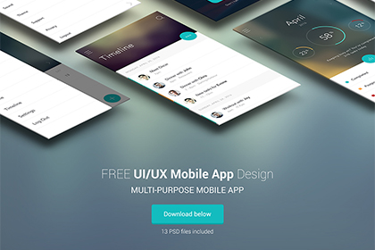 Flat Mobile App UI/UX Design Free