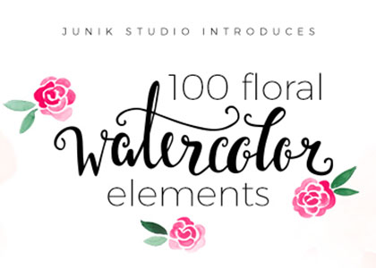 100 Free Watercolor Floral Elements