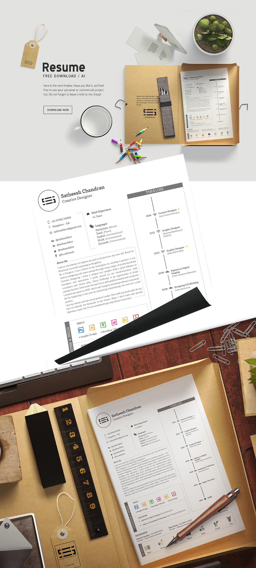 Free Handy Resume Template  Free Design Resources