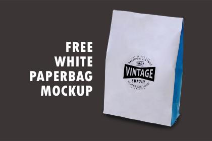 Free - White Paperbag Mockup