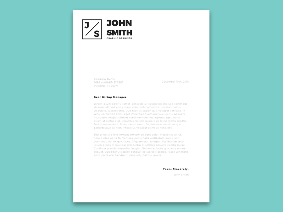cover letter design template