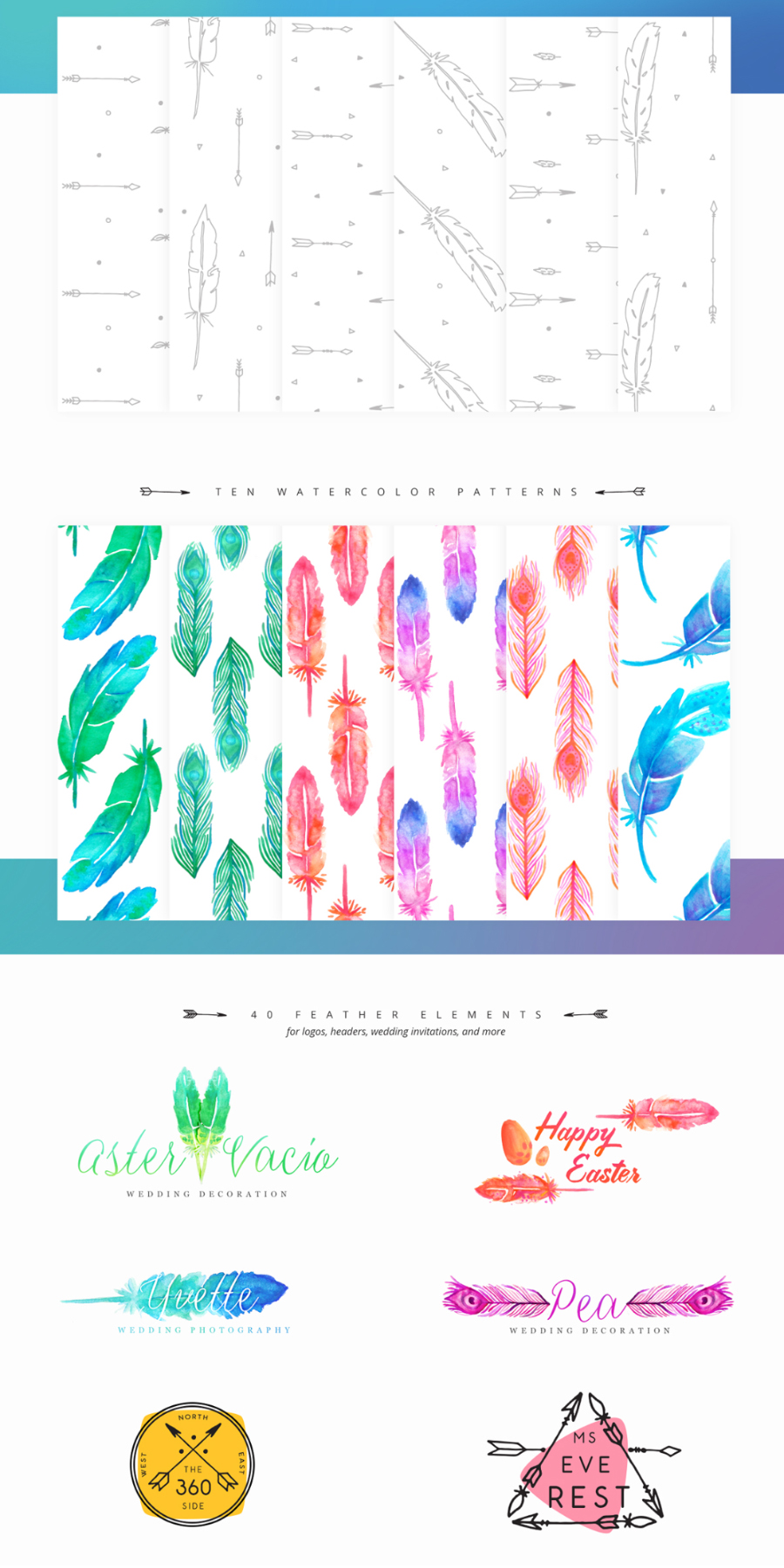 60 Free Watercolor Feather