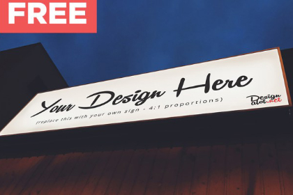 Outdoor Night Sign - Free Mockup