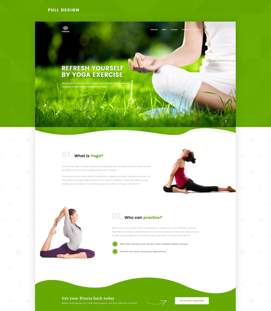 Free Fitness & Yoga Landing Page