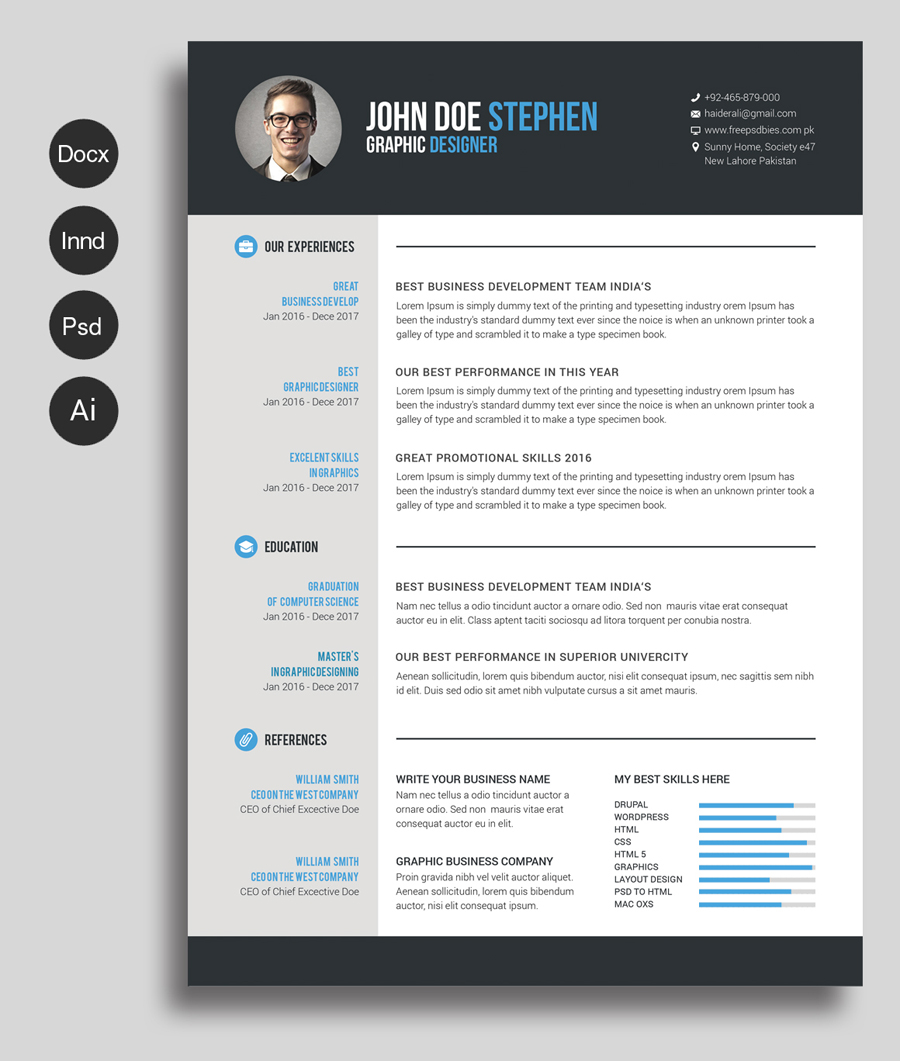 Free Ms Word Resume and CV Template Free Design Resources #0: Free Ms Word Resume and CV Template prev01