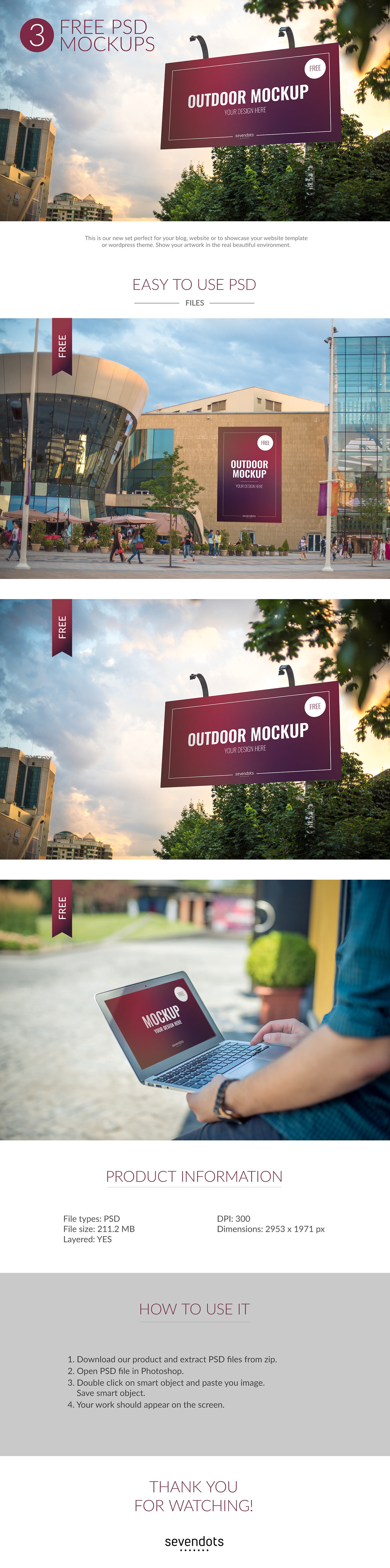 Free 3 Outdoor PSD Mockups