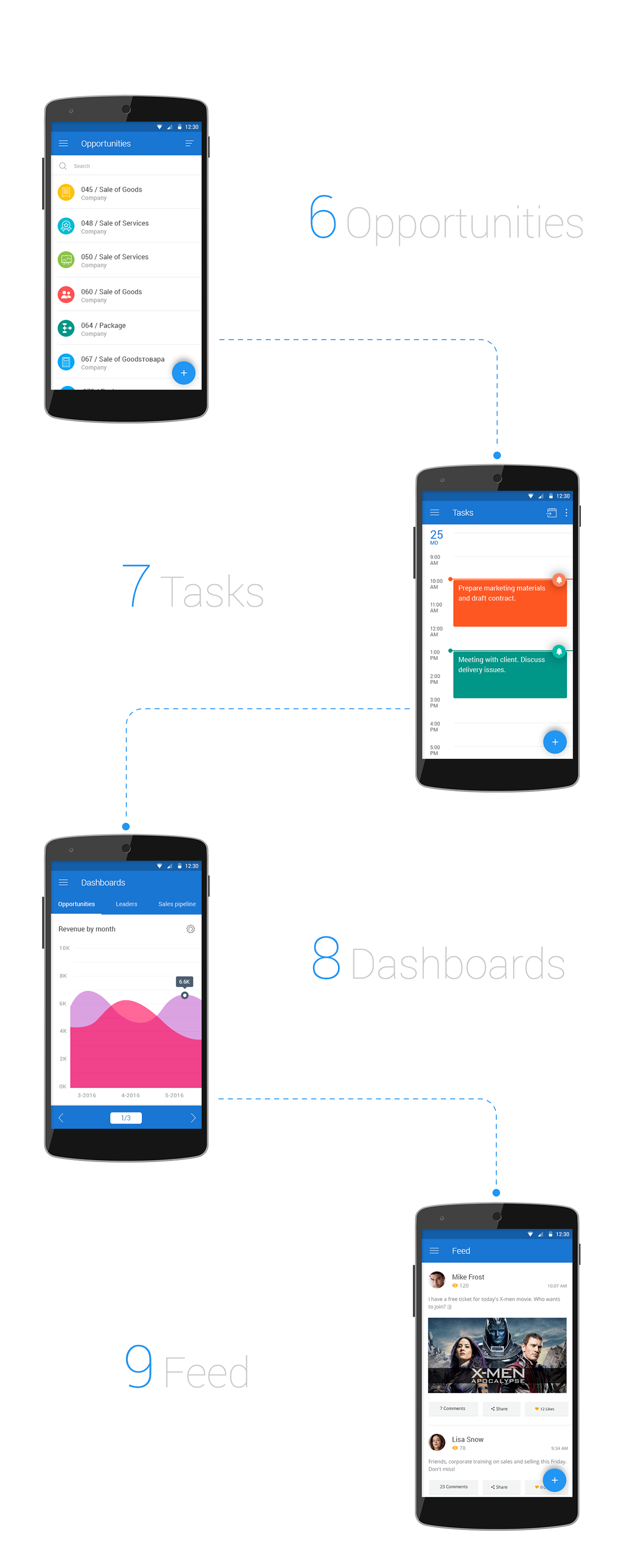 Free crm mobile app psd template — design resources