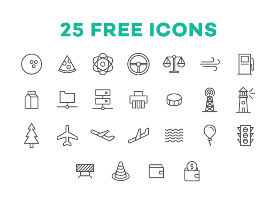 25 Free Vector UI Icon Set