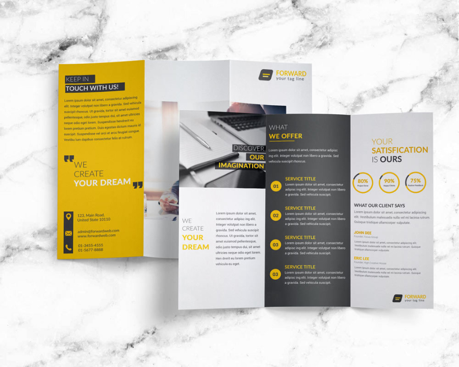 Free creative corporate trifold brochure free design for Free creative brochure templates