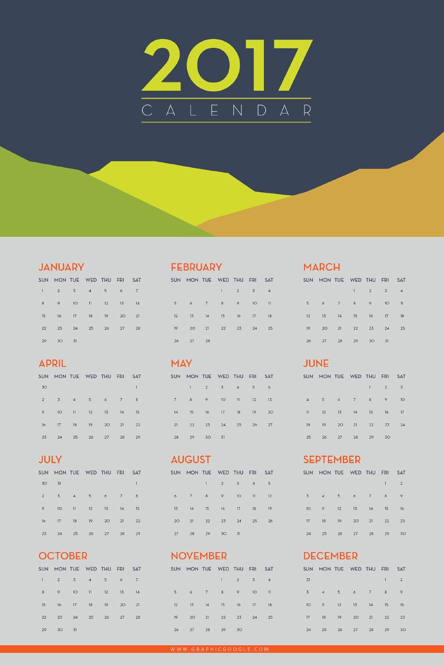 Free Flat 2017 Calendar Template Free Design Resources