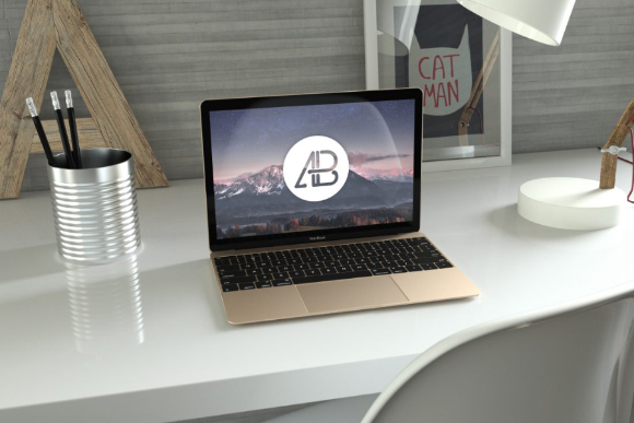 Free Realistic Gold Macbook Mockup